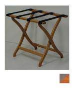 Wooden Mallet LR3-MOTAN Designer Curve Leg Luggage Rack in Medium Oak with Tan Webbing - 3.75 in.