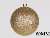 Queens of Christmas WL-ORN-BLKG-80-GO-W 80mm Glitter Gold Ball Ornament with Wire