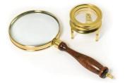 Barska Optics AR10858 Brass Magnifier Set- 3-Power- 90mm hand-held magnifier and 40mm table magnifier