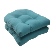 Pillow Perfect 507088 Outdoor Forsyth Wicker Seat Cushion in Turquoise - Set of 2 - Turquoise