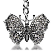 Alexander Kalifano SKC-004 Black Diamond Butterfly Keychain Made with. Crystals