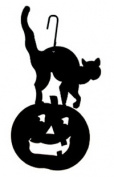 Village Wrought Iron HOS-28 Jack-O-Lantern-Cat Silhouette Decoration