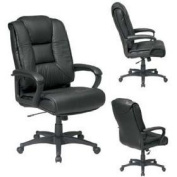 Office Star EX5162-G13 Deluxe High Back Black Glove Soft Leather Chair with Padded Loop Arms- Top Grain Leather-G13 Black Leather