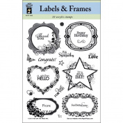 Hot Off The Press 120937 Hot Off The Press Acrylic Stamps 15cm . x 20cm . Sheet-Labels & Frames
