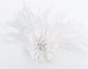Lillian Rose JL236 W Marabou Feather Hair Clip-Pin - White