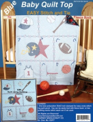 Fairway 494029 Stamped Baby Quilt Top 90cm . x 110cm . -Sports -Blue Fabric