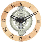 Maples Clock GCL06-888W Wooden Moving Gear Wall Clock With Wooden Dial Ring - 12 Inch