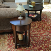 Bay Shore Collection F68503-02 Round Side Table with Round Accent - Espresso