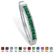 PalmBeach Jewelry 4756105 Round Simulated Birthstone Silvertone Metal Channel-Set Bangle Bracelet 8 May - Simulated Emerald