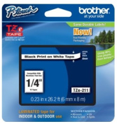 Brother TZE211 TZe Standard Adhesive Laminated Labelling Tape 1/4w Black on White