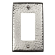 The Copper Factory Solid Hammered Copper Single GFCI Plate in Satin Nickel Finish - CF121SN
