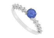 FineJewelryVault UBJS3135AW14DS-110 Sapphire and Diamond Engagement Ring : 14K White Gold - 0.75 CT TGW - Size 7