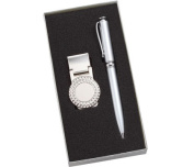 Aeropen International MCP-206 Golf Money Clip and Silver Ballpoint Pen with Gift Box