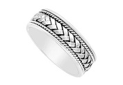 FineJewelryVault UBVF13C700W14-120 7MM Comfort Fit Fancy Braided and Rope Wedding Band : 14K White Gold - Size