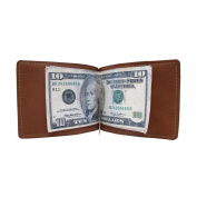 Piel Leather 9067 Bi-Fold Money Clip- Saddle