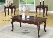 Monarch Specialties I 7843P Black / Grey Marble-Look Top 3 Piece Coffee Table Set