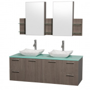 Wyndham Collection Amare 150cm Double Bathroom Vanity in Grey Oak with Green Glass Top with Carrera Marble Sinks, and Medicine Cabinets