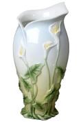 Unicorn Studios AP20015AA Porcelain White Vase with Calla Lily Leaf Stem