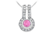 FineJewelryVault UBPD557W14DPS-101 Pink Sapphire and Diamond Pendant : 14K White Gold - 1.25 CT TGW