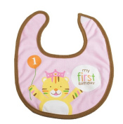 Creative Converting 201294 Sweet Safari Pink 1st Birthday Fabric Bib
