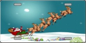 XMAS-11 Santa with Eight -8 Reindeer Full Color License Plates