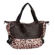 Blancho Bedding DZ002-COFFEE Casual Leopard Temptation Coffee Double Handle Satchel Hobo Handbag with Shoulder Strap