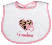 Dee Givens & Co-Raindrops A74535 I love Grandma Appliqued Small Bib - Pink