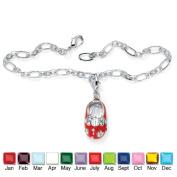 PalmBeach Jewelry 4906507 Enamel Simulated Birthstone Silvertone Metal Baby Shoe Charm Pendant with Free Bracelet July - Simulated Ruby
