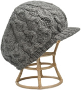 Nirvanna Designs CH401 Charcoal Cable Beret Cap with Fleece Band