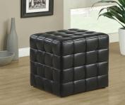 Monarch Specialties I 8977 Black Leather-Look Ottoman