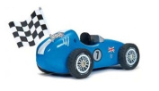 Le Toy Van Wooden Blue Racer and Budkin Figure