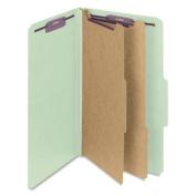 Smead 19076 Pressboard Classification Folders with Tab Lgl 6-Section GY-Green 10/box