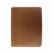 Piel Leather 2282 Zippered Padfolio- Saddle