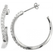 Doma Jewellery DJS02377 Sterling Silver (Rhodium Plated) Hoop Earring with CZ