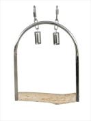 Caitec 315 8 in. Medium Stainless Steel Swing with Natural Wood Perch