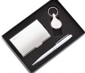 Aeropen International GCK-87S Silver Card Case and Round Key Ring with Pen Set