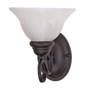 Nuvo Lighting 60-387 Castillo - 1 Light - 20.3cm . - Wall Fixture - with Alabaster Swirl Glass