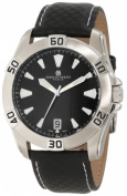 Charles-Hubert Paris 3913-W Stainless Steel Case Black Dial Watch