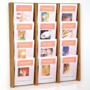 Wooden Mallet AC34-12MO Stance 12 Pocket Wall Display in Medium Oak - 3Wx4H