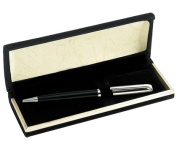 Aeropen International CFS-5001 Brass Chrome - Black Ballpoint Pen with Black Velvet Box