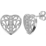 Doma Jewellery DJS02221 Sterling Silver (Rhodium Plated) Heart Earring with CZ - 14mm