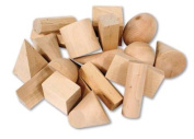 LEARNING RESOURCES LER4298 WOODEN GEOMETRIC SOLIDS SET OF 19
