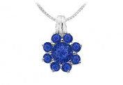 FineJewelryVault UBPD530W14S-101 Blue Sapphire Flower Pendant : 14K White Gold - 2.75 CT TGW