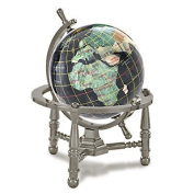 Alexander Kalifano GNT80AS-BO 3 in. Gemstone Globe with Antique Silver Nautical 3-Leg Stand - Black Opalite