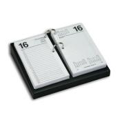 Dacasso A1031 Black Leather 4.5 in. x 8 in. Desktop Calendar Holder - Silver Bolts
