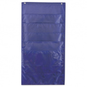 Pocket Chart, Weekly, 6 Pockets, Polyester, 15w x 27 3/4h, Blue, 1 Kit
