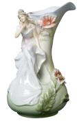 Unicorn Studios AP20026AA Porcelain White Vase - Maiden Figure with Poppies