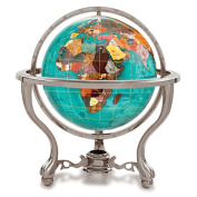 Alexander Kalifano GT330AS-BB-USA 33cm Gemstone Globe with Antique Silver Commander 3-Leg Table Stand - Bahama Blue Oc