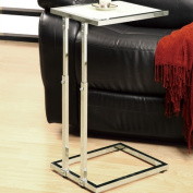 Monarch Specialties I 3012 Chrome Metal Adjustable Height Accent Table - Tempered