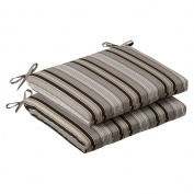 Pillow Perfect Indoor/Outdoor Black/Beige Striped Seat Cushion, Squared, 2-Pack